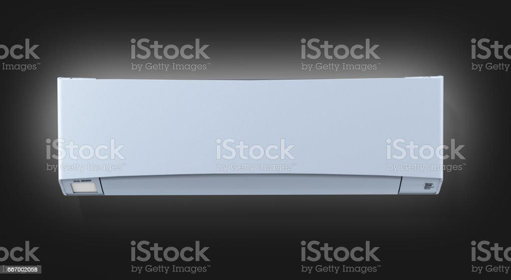 Air conditioner on black gradient background front view 3d stock photo