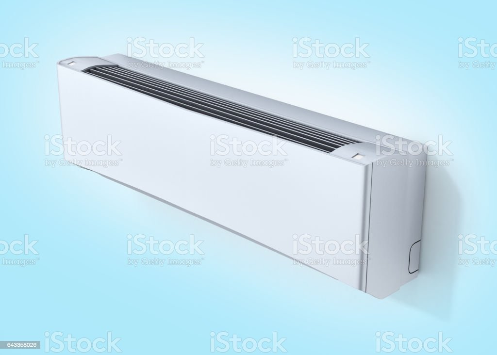 Air conditioner on blue gradient background 3d stock photo