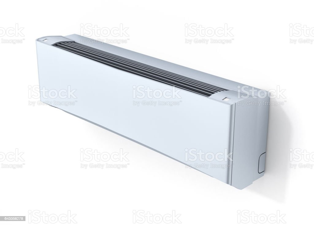 Air conditioner on white wall 3d stock photo
