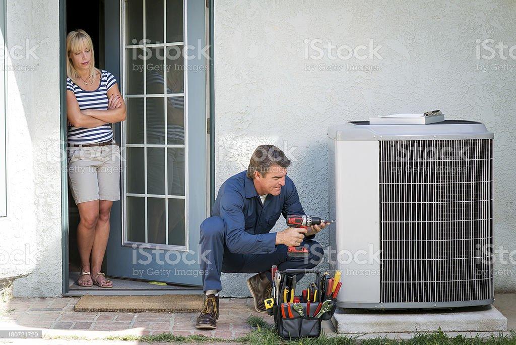Air Conditioner Repairman stock photo