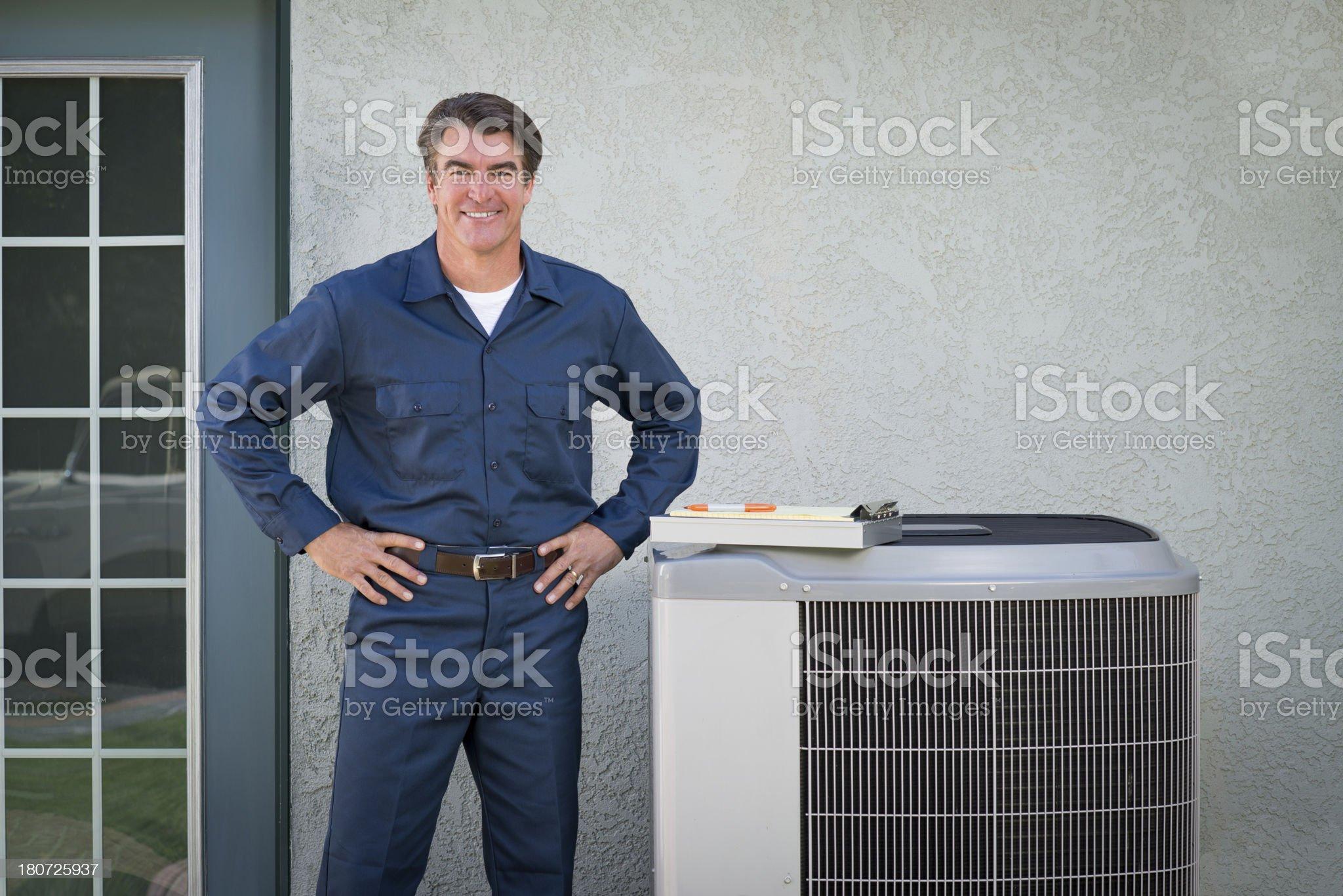 Air Conditioner Repairman royalty-free stock photo