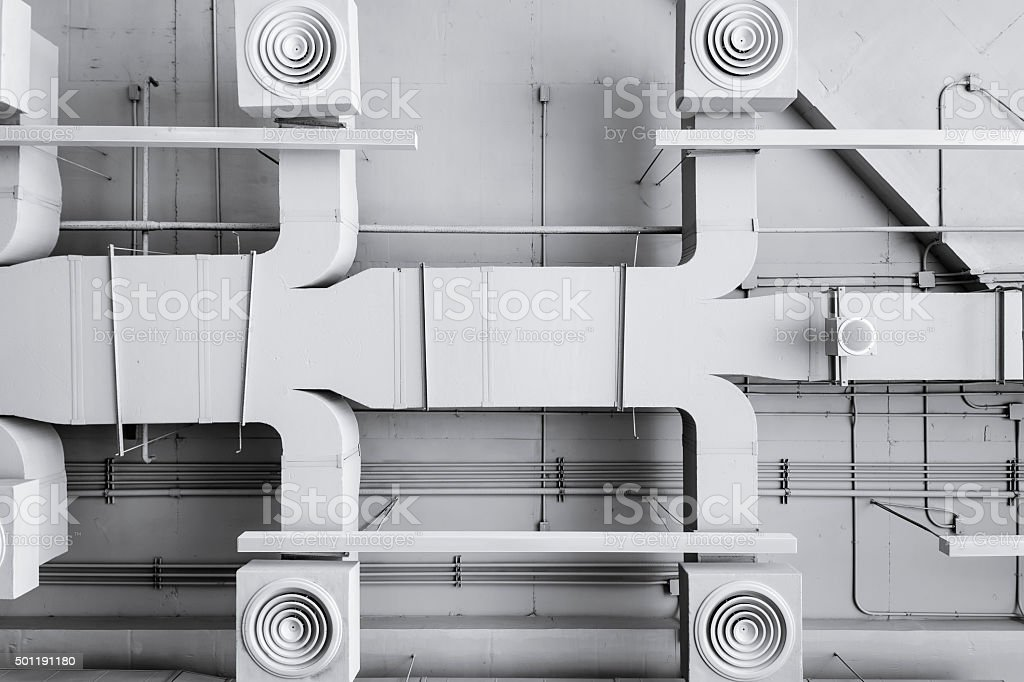 Air conditioner ventilation installation system in Building stock photo