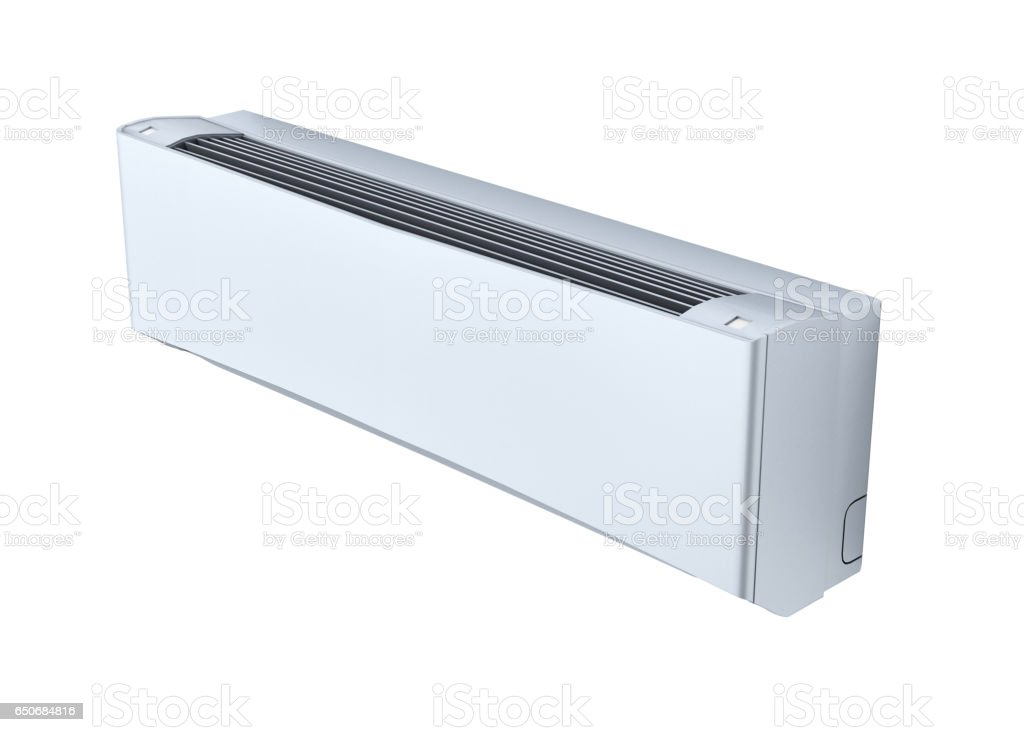 Air conditioner whithout shadow on white wall 3d stock photo