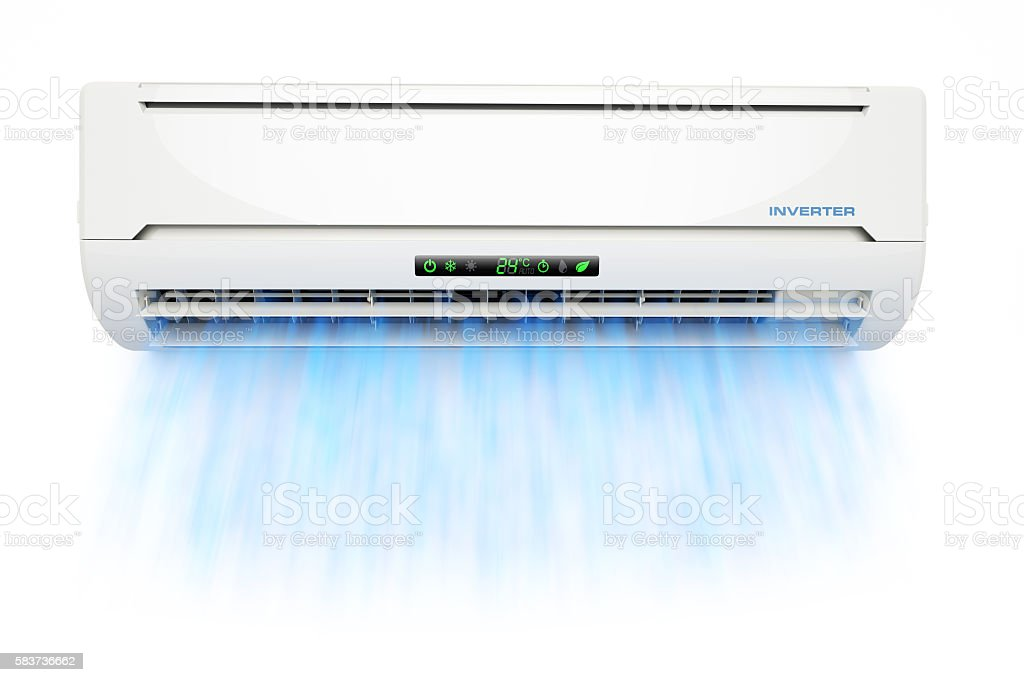 Air conditioner with cold blue airflow stock photo