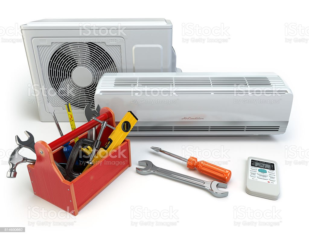 Air conditioner with toolbox and tools. Repair of air-conditione stock photo