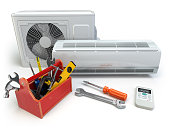 Air conditioner with toolbox and tools. Repair of air-conditione