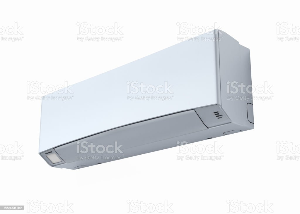 Air conditioner without shadow on white wall 3d stock photo