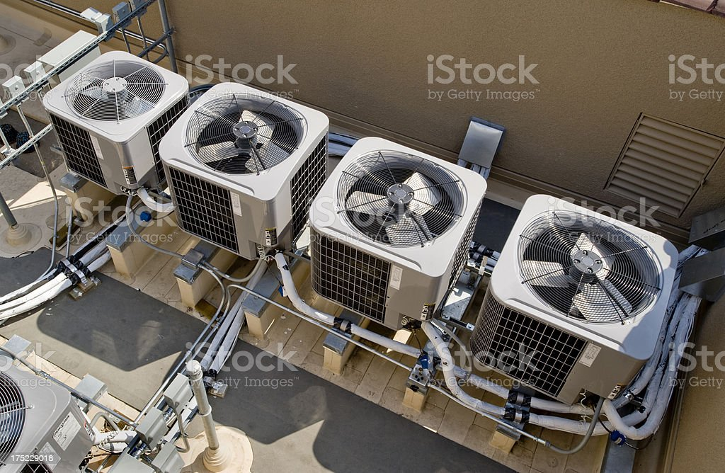 Air Conditioners on Rooftop stock photo
