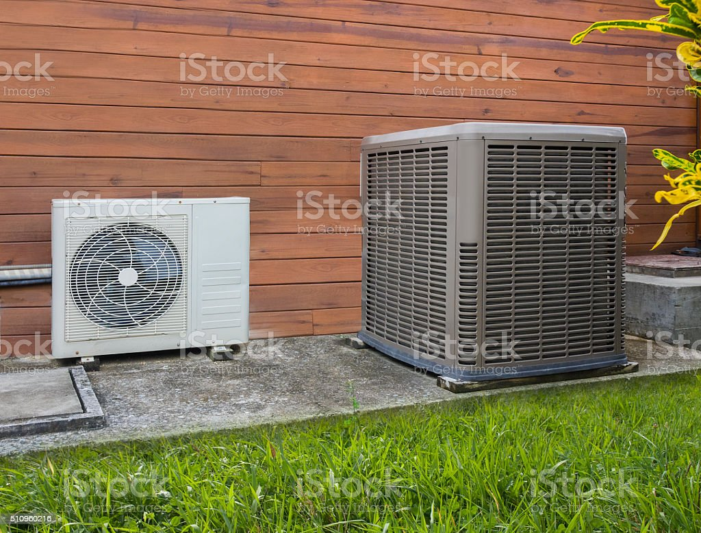 Air conditioning heat pumps stock photo
