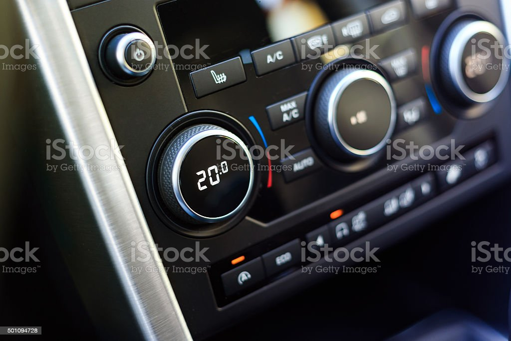 Air conditioning knob showing optimal temperature stock photo
