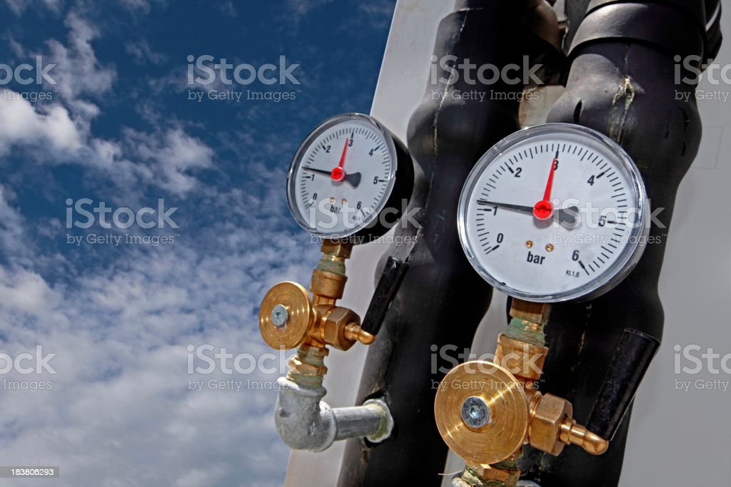 Air conditioning pressure gauges royalty-free stock photo