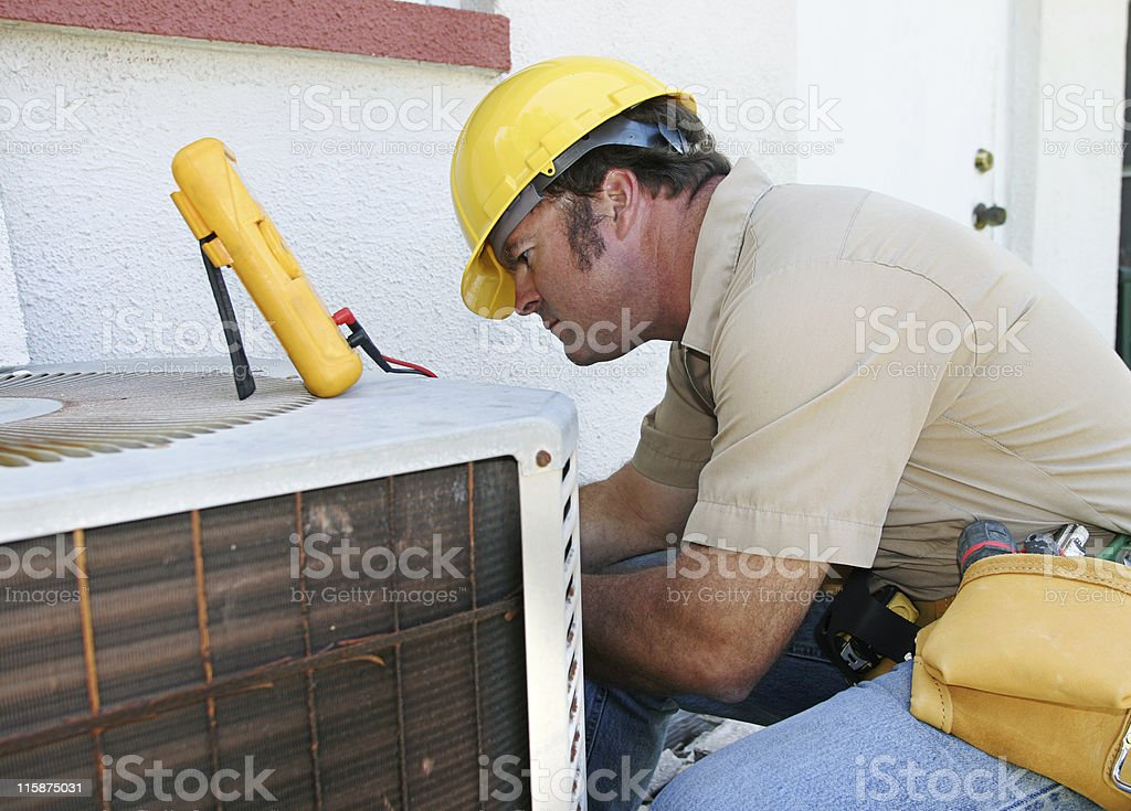 Air Conditioning Repairman Compressor royalty-free stock photo