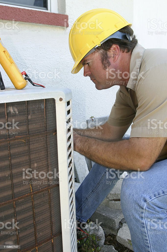 Air Conditioning Repairman In Profile royalty-free stock photo