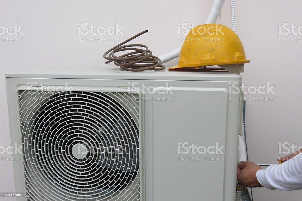 Air Conditioning Repairman stock photo