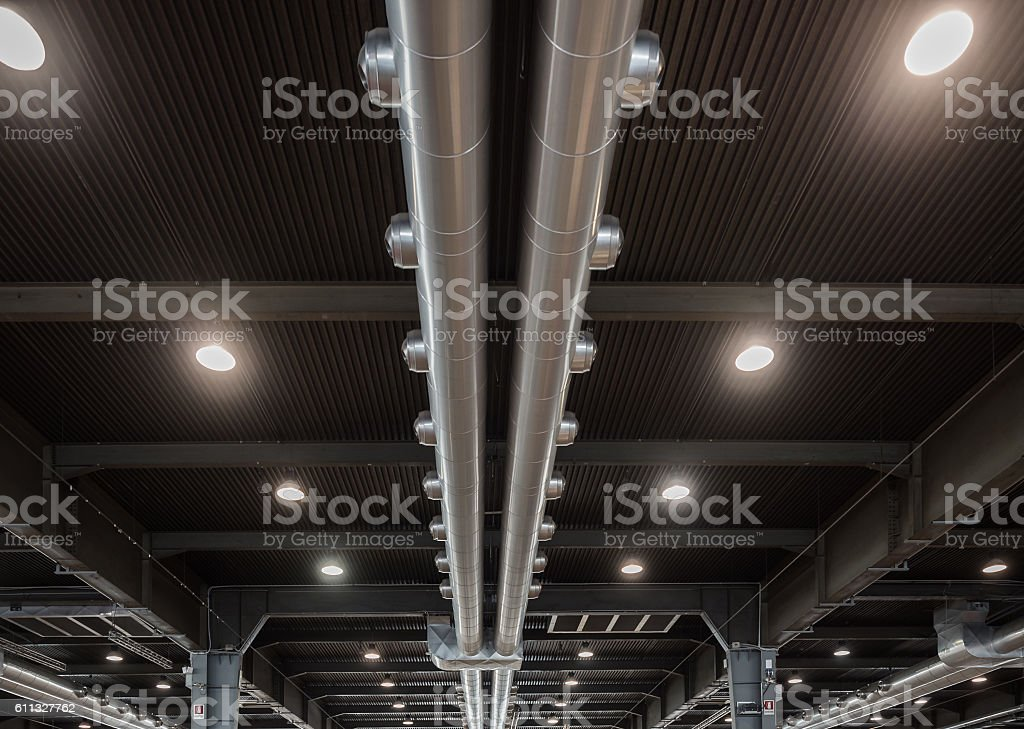 Air conditioning system of a modern industrial building. stock photo
