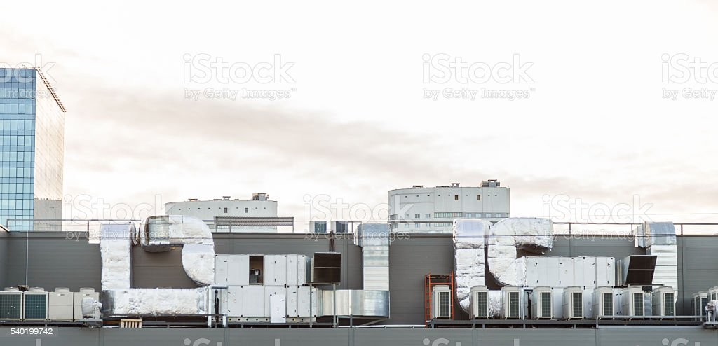 Air conditioning system on the roof stock photo