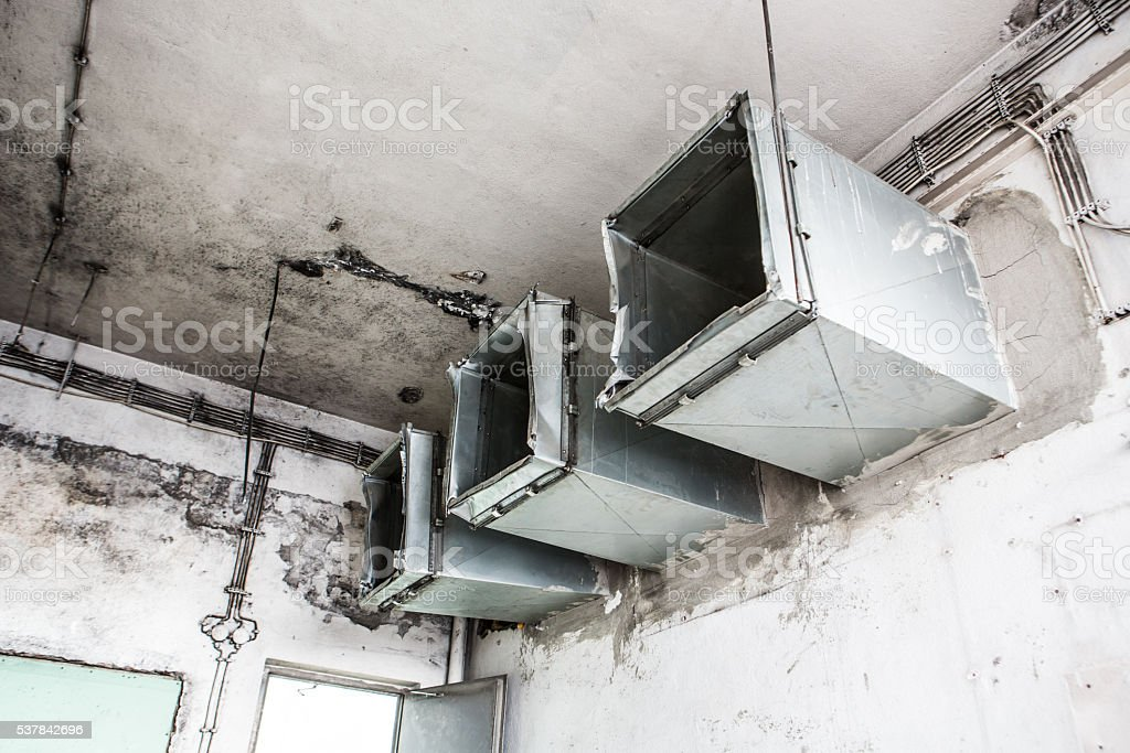 Air conditioning system's ventilation pipes. stock photo