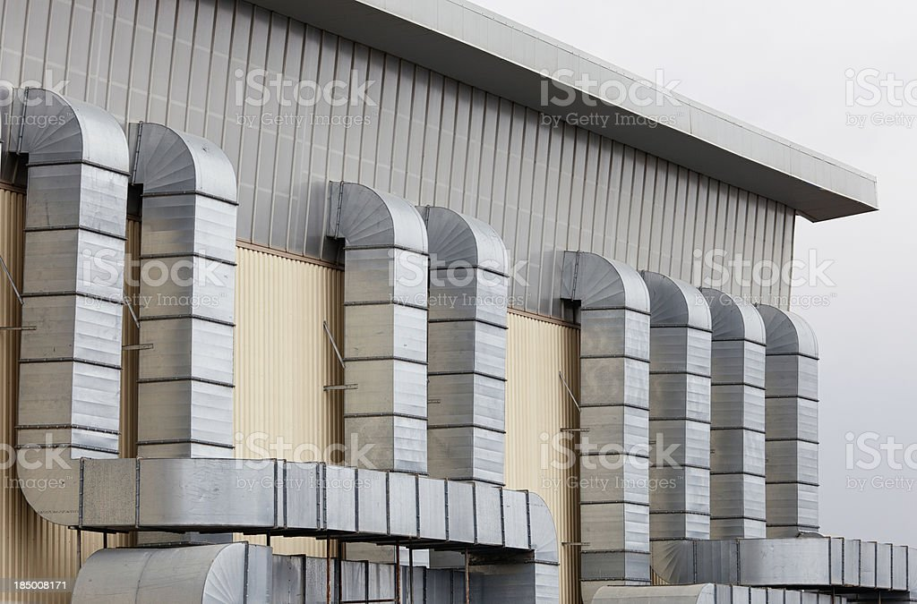 Air conditioning tubes of trade building royalty-free stock photo
