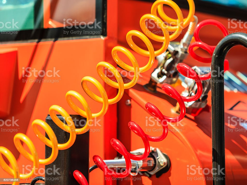Air connections hoses of machinery stock photo