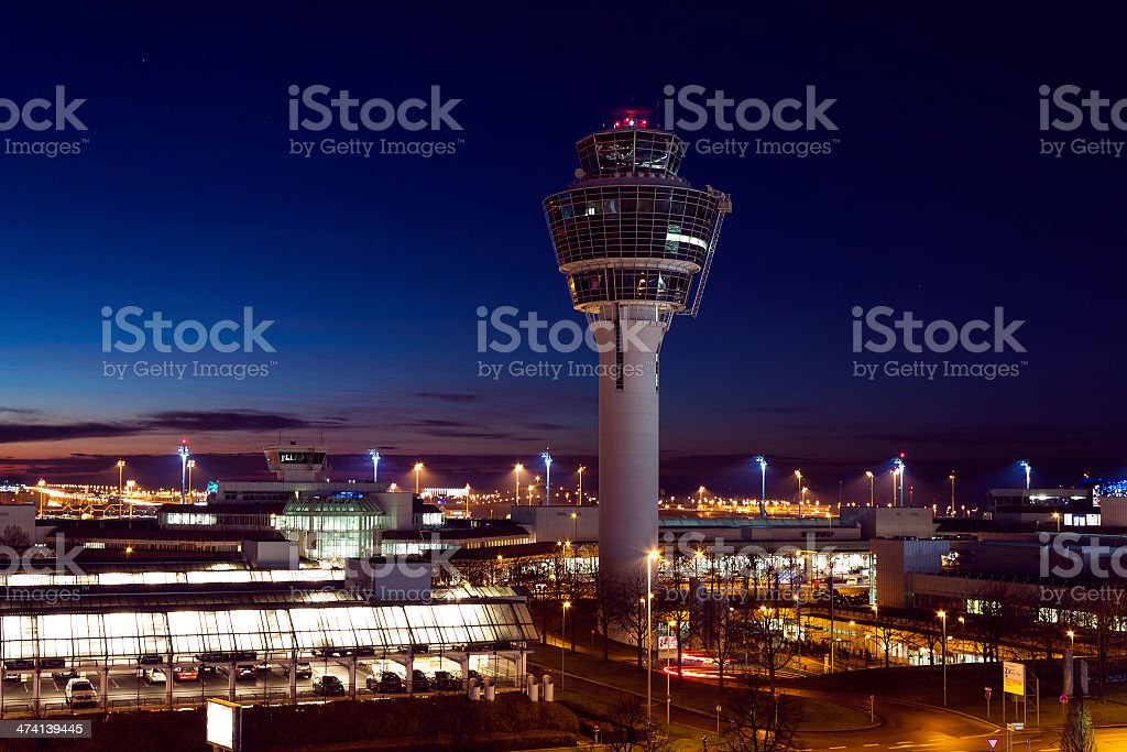Air control tower at the Munich Airport at night stock photo
