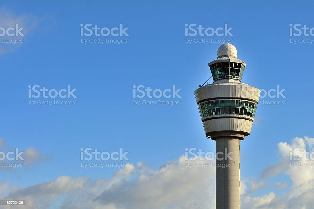 Air control tower at the Netherland Schiphol Airport stock photo
