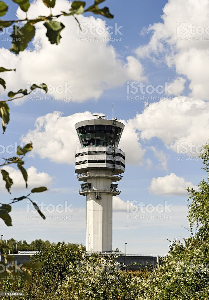 Air control traffic  tower at Brussels Airport,Belgium stock photo