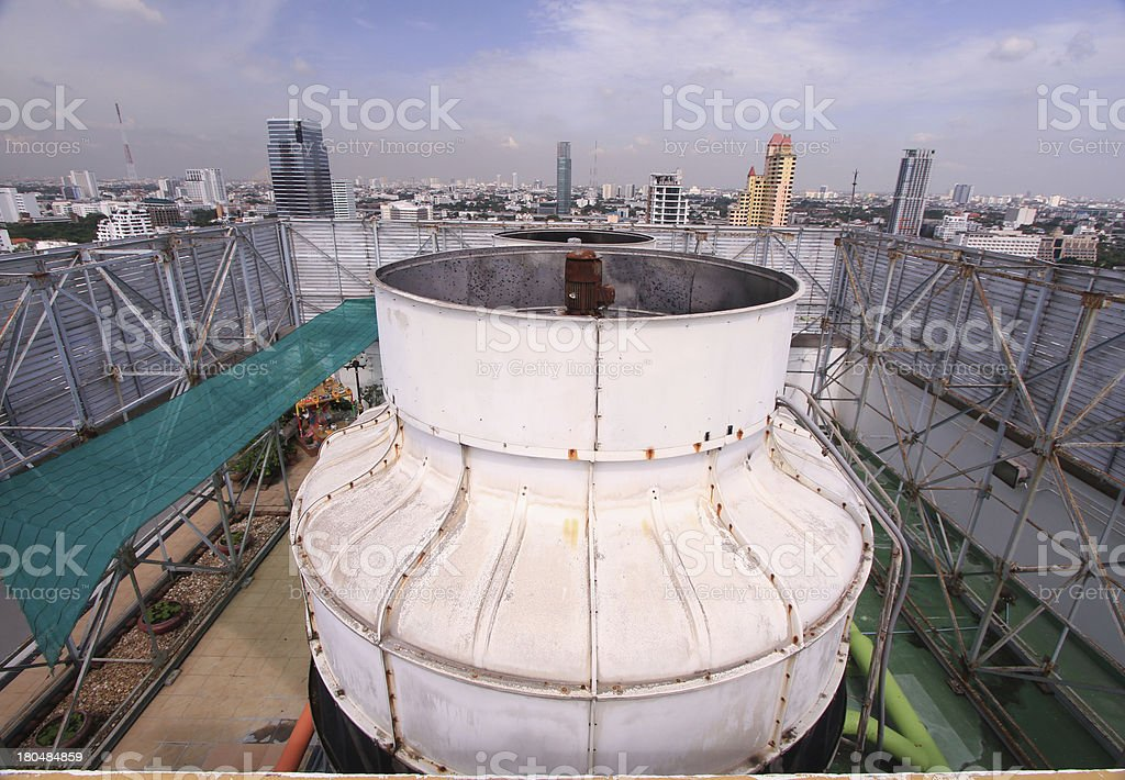 air coolant on roof of tower stock photo
