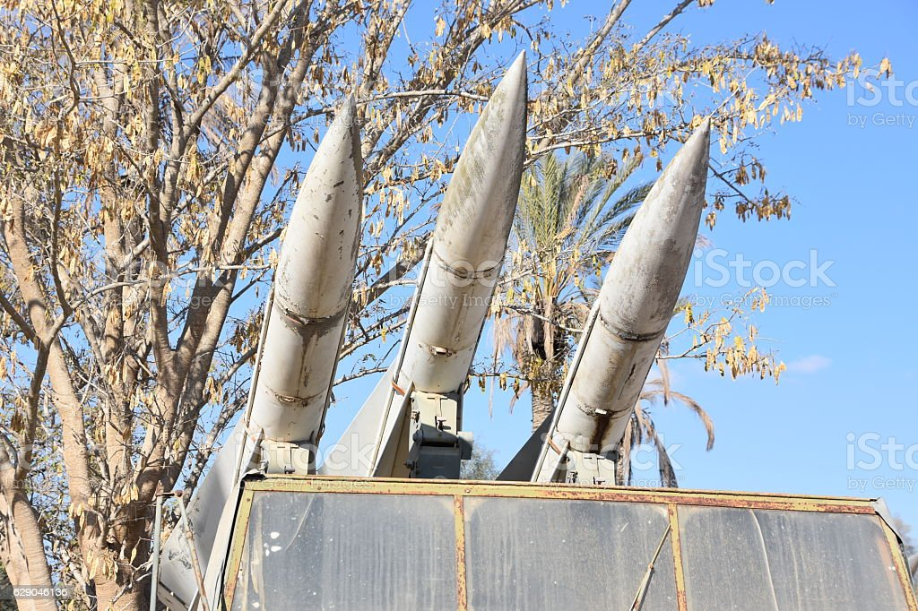 Air defense, three missiles. stock photo