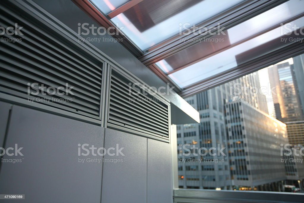 Air Duct And Roof With Solar Panels royalty-free stock photo