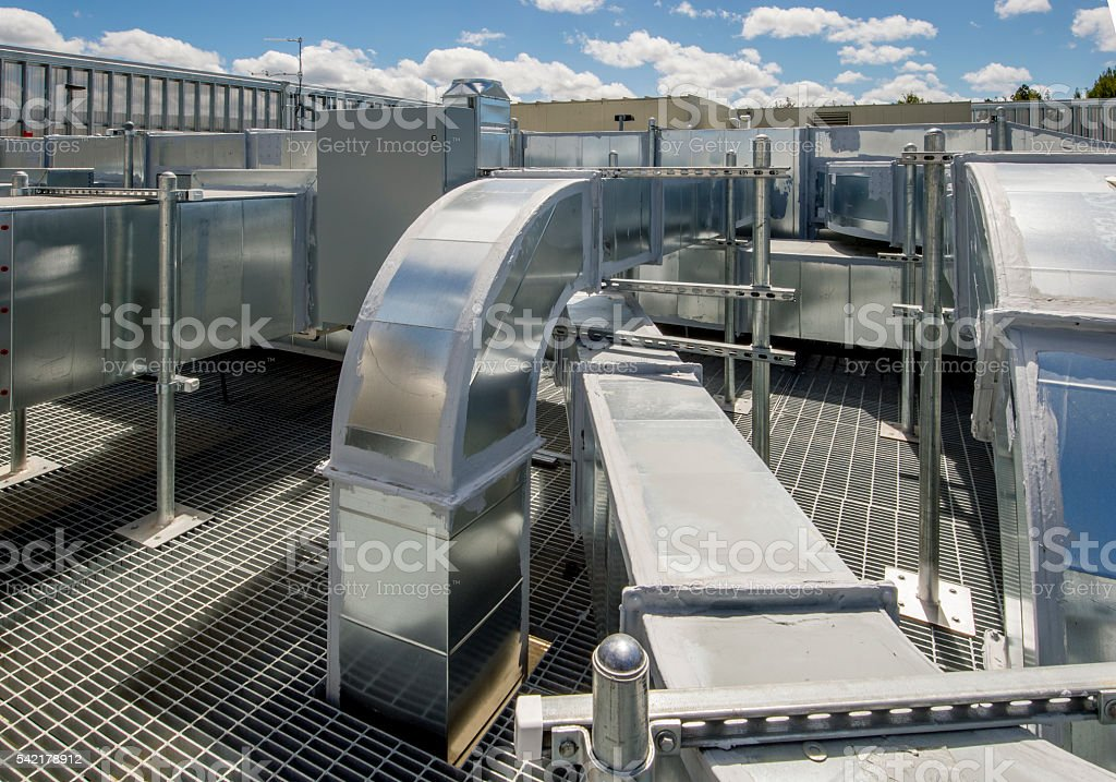Air Ducts for Rooftop HVAC stock photo