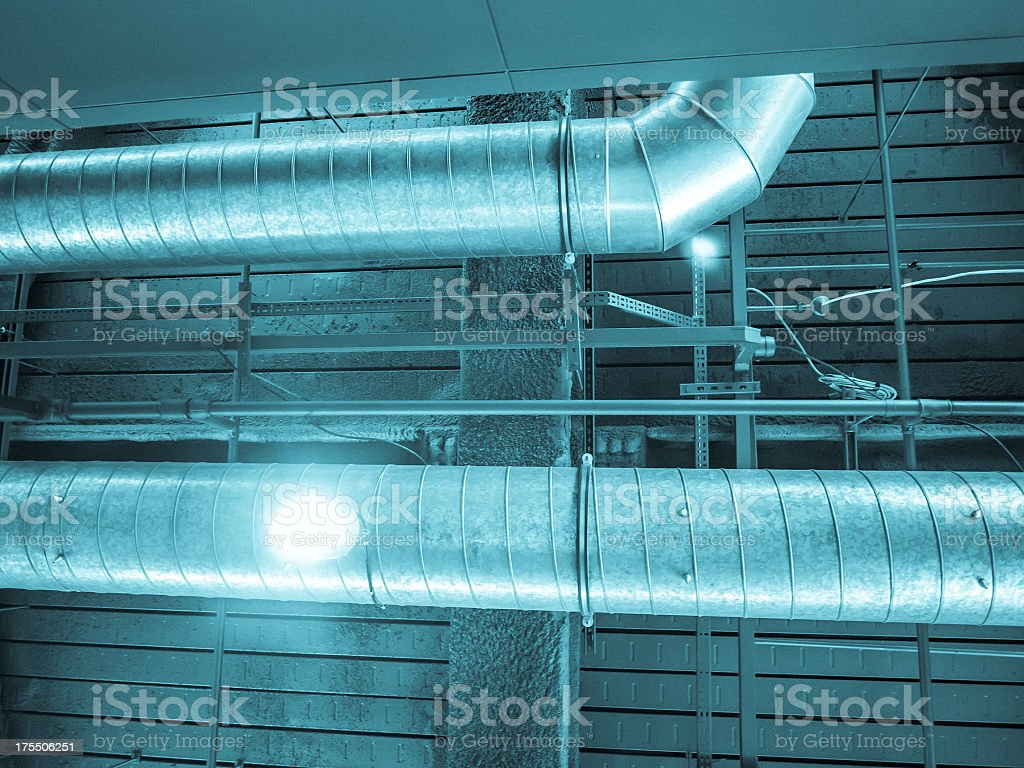 Air ducts on the ceiling stock photo