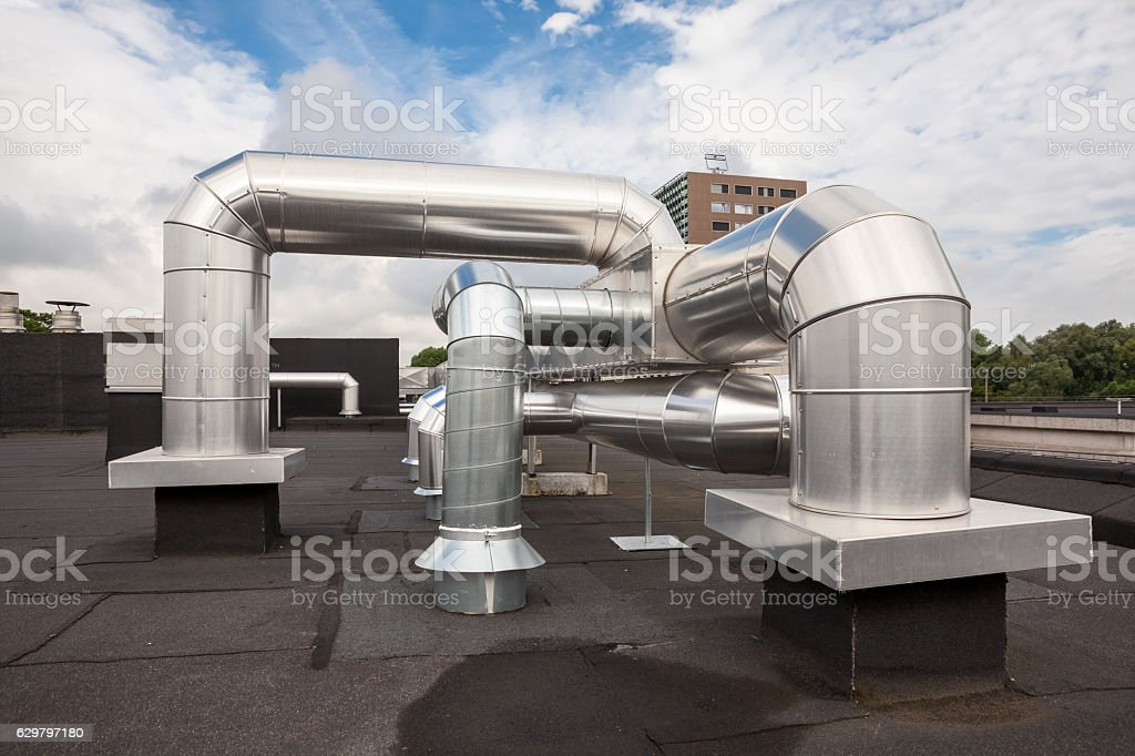 air ducts on the roof stock photo