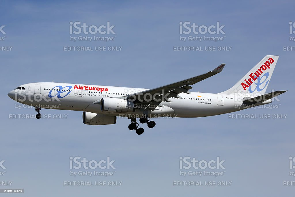 Air Europa Airbus A330-200 airplane Madrid airport stock photo