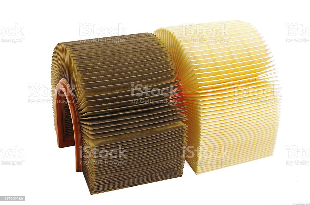 Air filters. Used and new stock photo