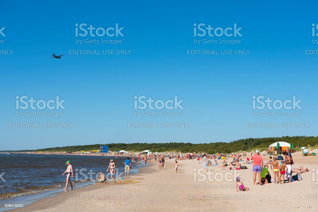 US Air Force C-130 Hercules landing in Palanga, Lithuania stock photo