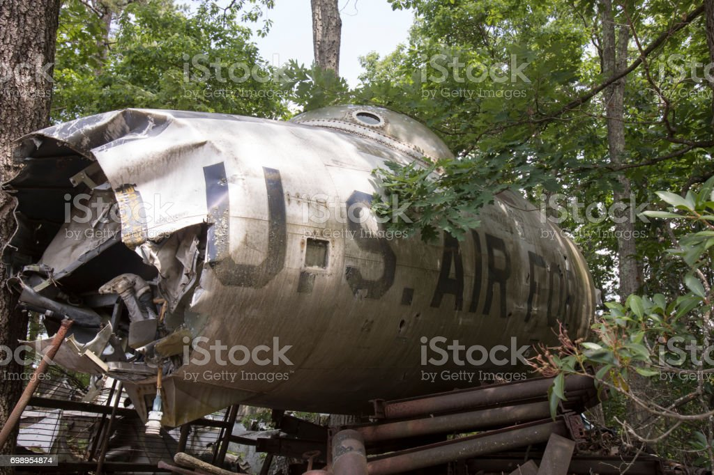 US Air Force fighter jet crash stock photo