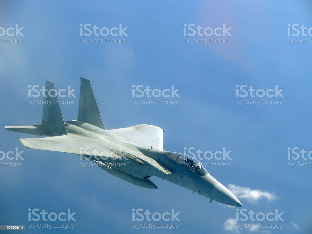 US Air Force jet at high speed stock photo
