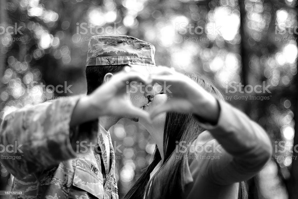 Air Force kiss stock photo