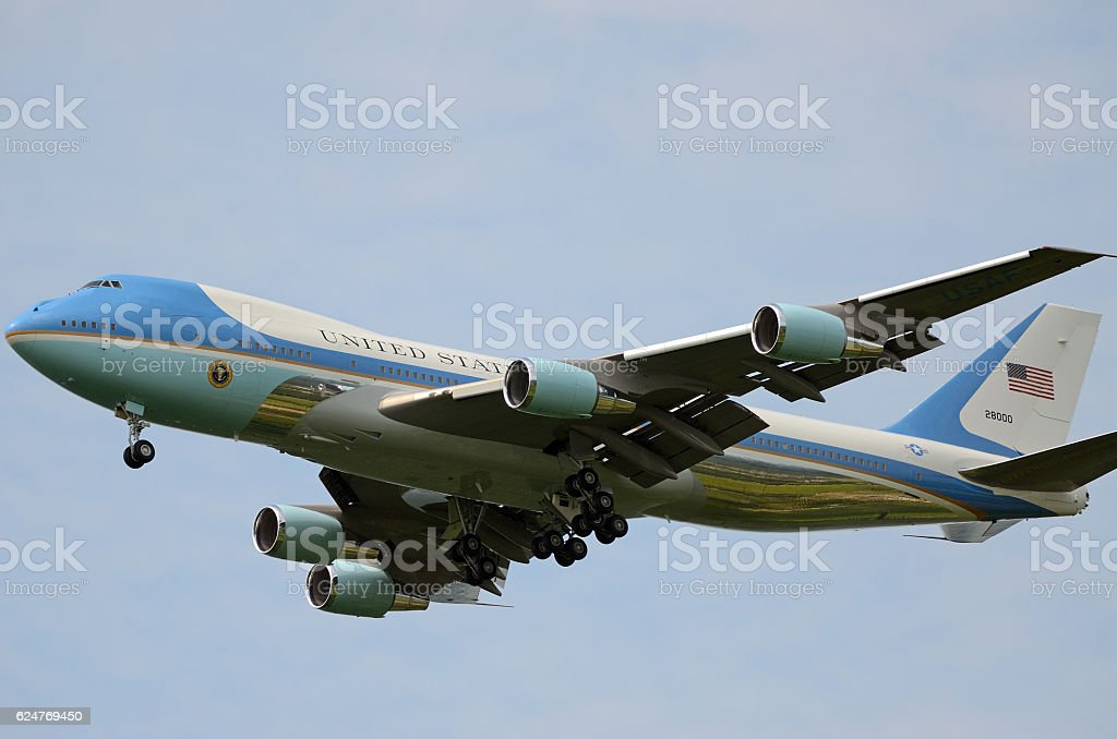 Air Force One in Flight stock photo