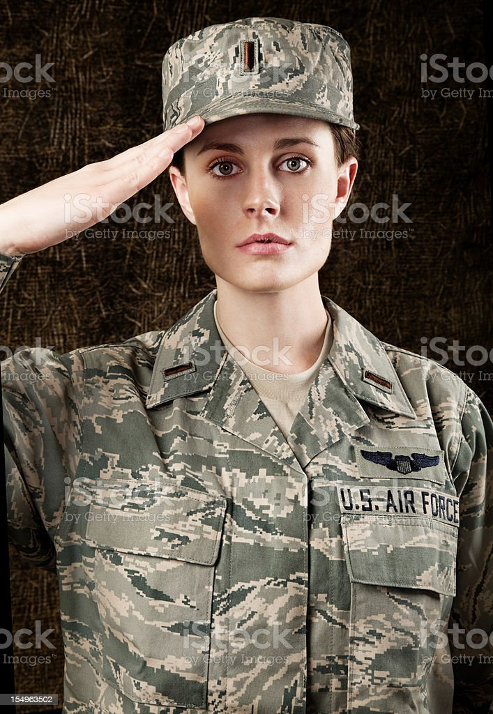 US Air Force Series: American Airwoman against dark brown background royalty-free stock photo
