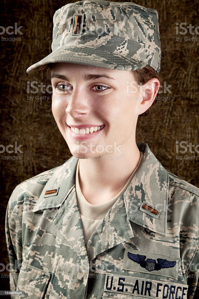 US Air Force Series: American Airwoman Smiling stock photo