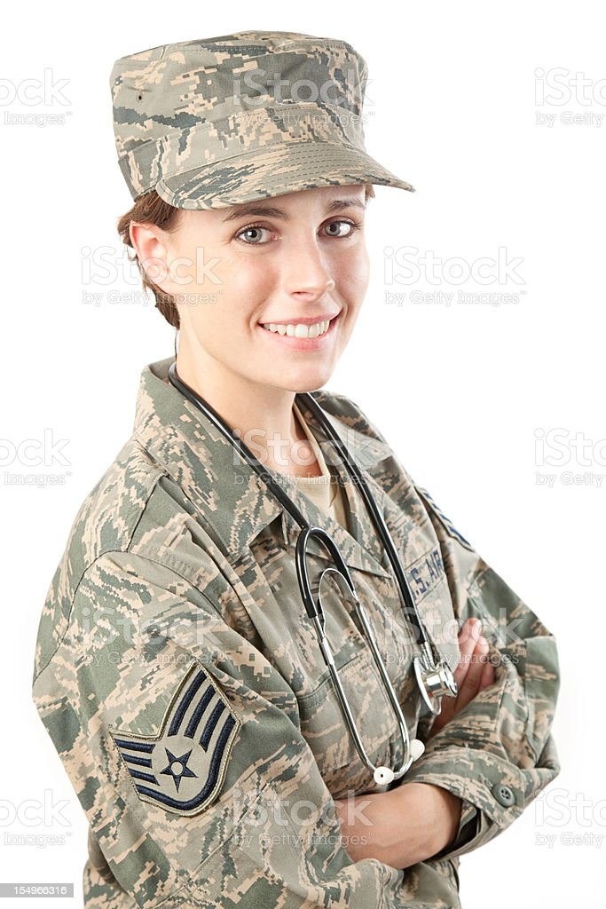 US Air Force Series: American Airwoman with Stethoscope stock photo