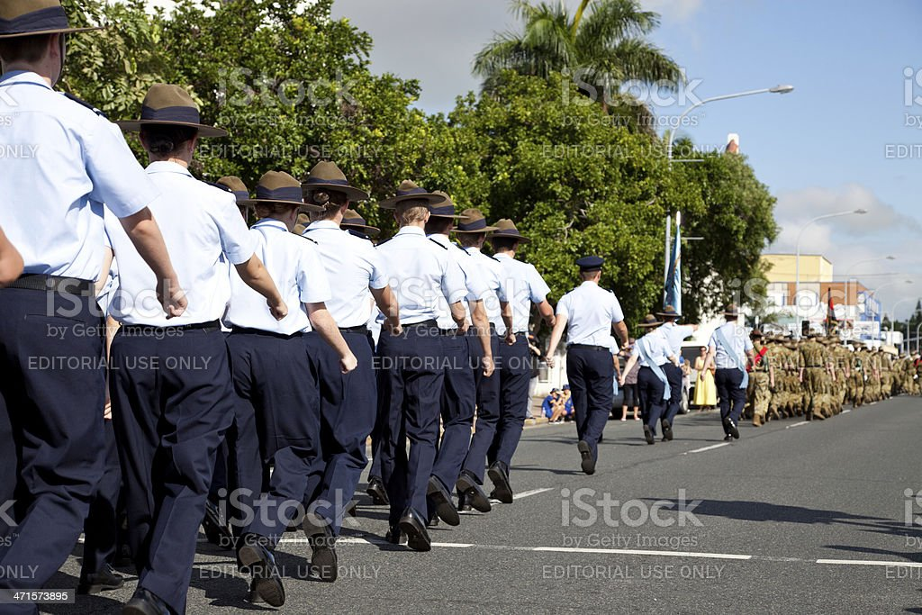 Air Force Servicemen Marching Away at ANZAC Day March stock photo