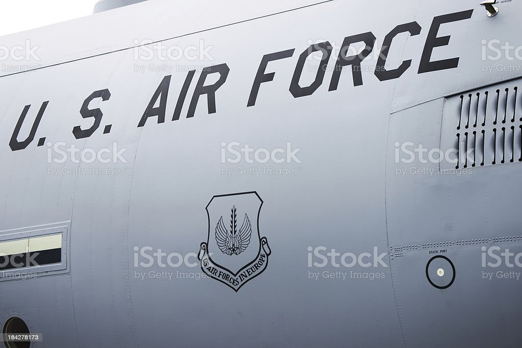 US Air Force sign on transport plane fuselage stock photo