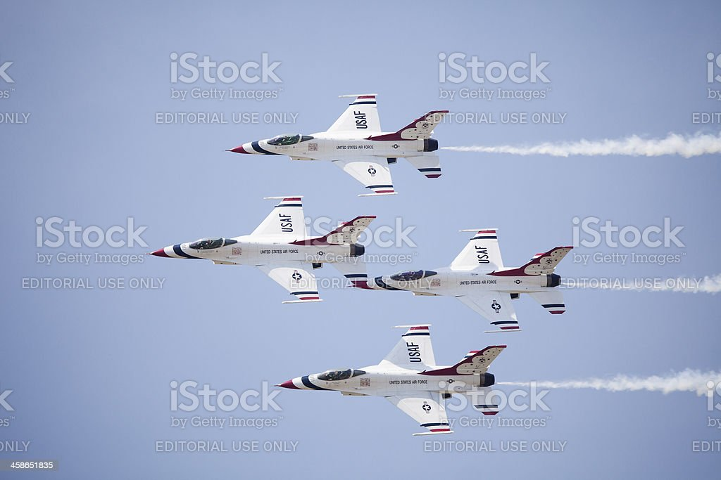 US Air Force Thunderbirds jets from below royalty-free stock photo
