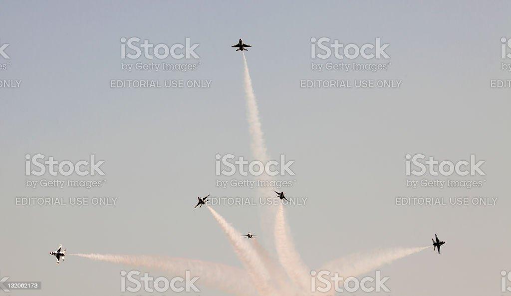 US Air Force Thunderbirds Preforming Precision Aerial Maneuvers royalty-free stock photo