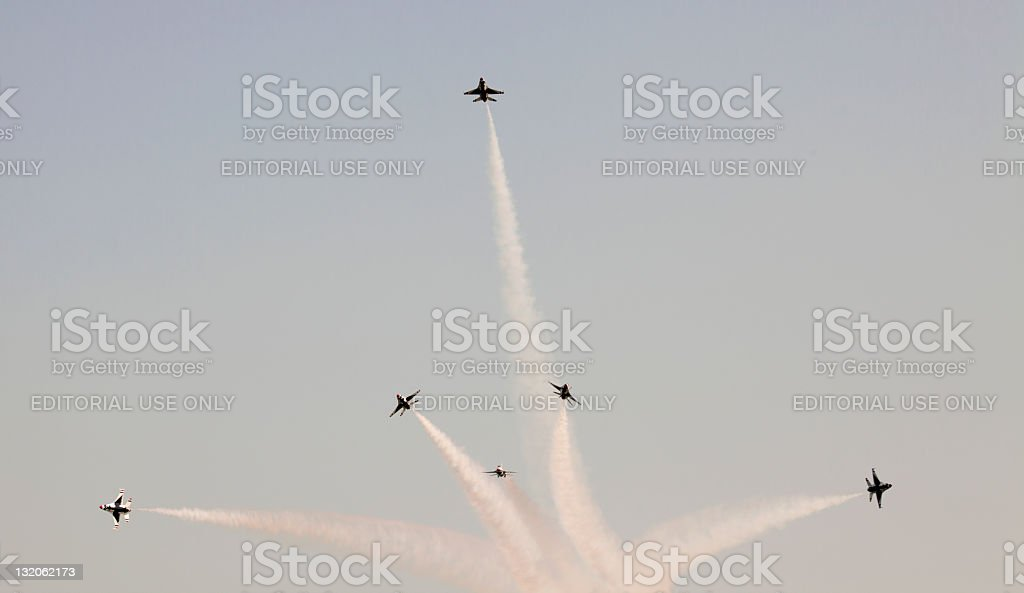 US Air Force Thunderbirds Preforming Precision Aerial Maneuvers stock photo