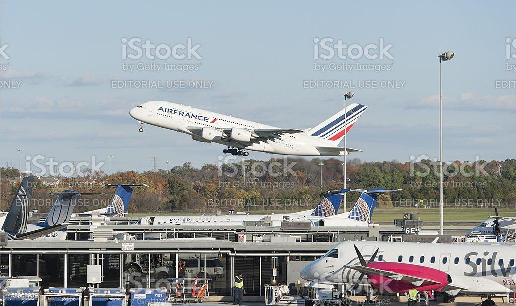 Air France Airbus 380 at Washington dc dulles international airp stock photo