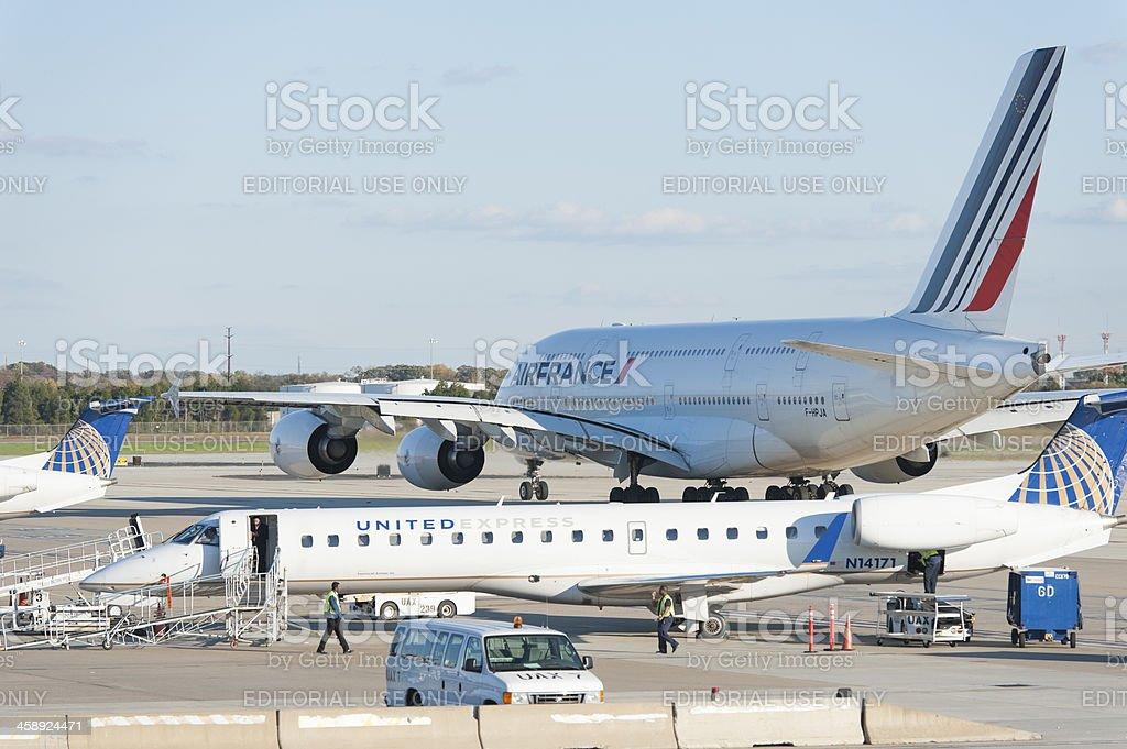 Air France Airbus 380 at Washington dc dulles international airport stock photo