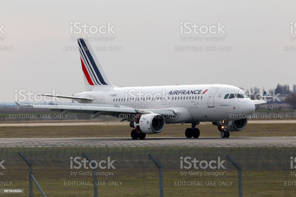Air France Airbus A319-111 aircraft landing on the runway stock photo